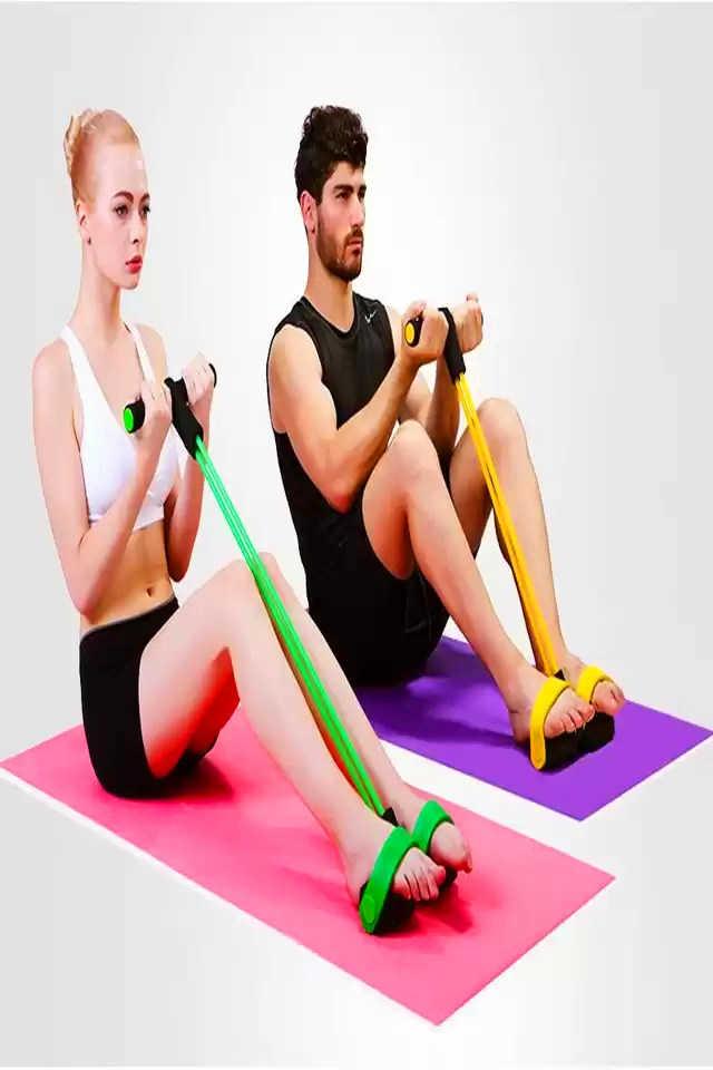 4股升级款家用仰卧起坐拉力器 美体塑形运动健身器材 4股胶管100斤以上拉力器