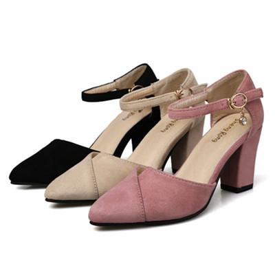 包头凉鞋女夏韩版百搭舒适中空女鞋中跟尖头粗跟2017新款时尚气质女单鞋 小码31 32 33一字扣带凉鞋女