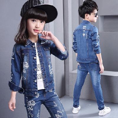 童装男童女童2017新品纯棉牛仔套装春秋儿童牛仔套装女两件套韩版