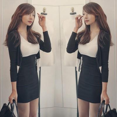 两件套时尚简约包臀连衣裙秋冬季女套夜店气质装韩版性感2018新款