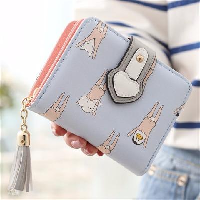 【促销送卡包】新款女士钱包女短款时尚可爱超薄流苏长硬币包两折学生拉链零钱包