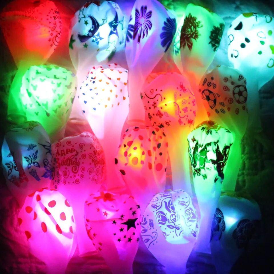 发光透明气球生日七彩闪光加厚夜光多款卡通led灯儿童节批发免邮