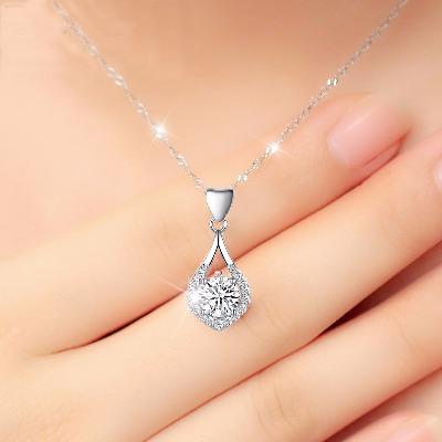 新款pt950铂金项链钻石吊坠18k白金镶钻链子女款日韩时尚珠宝首饰