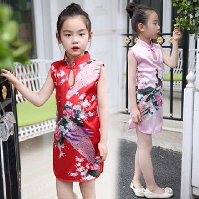 过年衣服女儿童短袖儿童长裙旗袍小女孩套装夏还珠格格古装夏款女