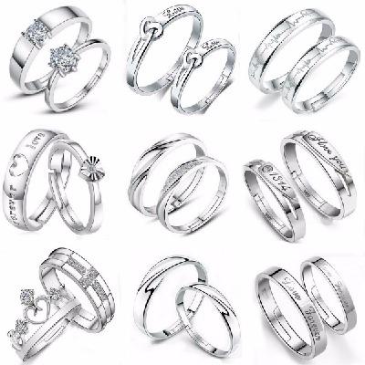 免费刻字情侣戒指女925纯银对戒男韩版饰品一对开口活口学生礼物