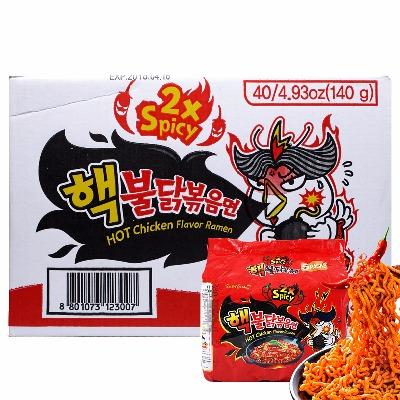 韩国进口三养倍辣火鸡面整箱140gx40包韩国泡面方便面拉面