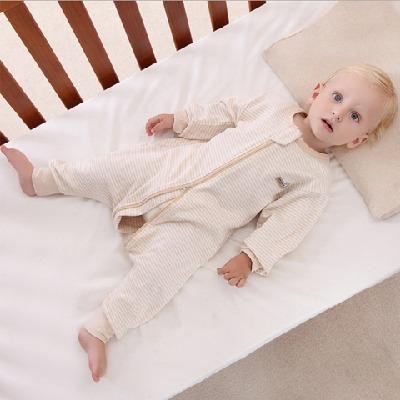 婴儿睡袋春秋薄款彩棉分腿棉透气宝宝睡袋儿童防踢被新生儿被子