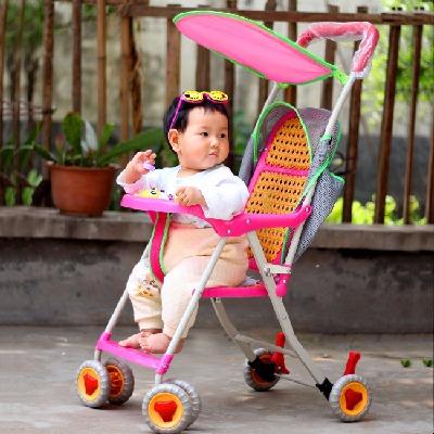 婴儿帽婴儿坐垫学步鞋夏仿藤推车儿童折叠轻便玩具学坐椅车垫子坐
