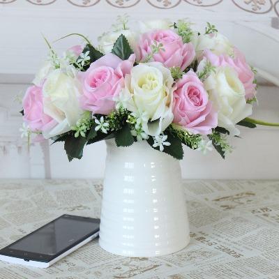假花仿真玫瑰花艺客厅餐桌家居装饰品小盆栽摆件茶几塑料绢花绿植