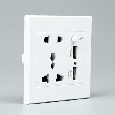 86暗装墙壁开关五孔双USB电源插座 白色金色面板智能手机充电插座