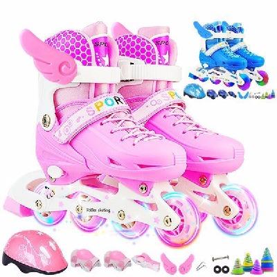 儿童溜冰鞋男四轮鞋推拉门滑轮闪光粉盒儿童鞋旱冰鞋成人滑冰鞋儿童儿童鞋子男女儿子儿童过年礼物的鞋全闪套装滑轮暴走人童旱女女