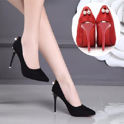 高跟鞋女细跟尖头女士单鞋绒面红色伴娘新娘婚鞋性感夜店水钻女鞋