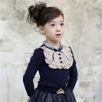 童装韩版秋冬款女童长袖T恤 儿童打底衫女童上衣潮款印点打底衫