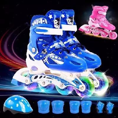 闪光粉儿童鞋子男溜冰鞋女学生旱冰鞋儿童儿子女生滑冰童女生鞋双排女鞋子暴走鞋成人滑轮鞋光球男鞋人儿童踏板车儿童男轮子鞋男童