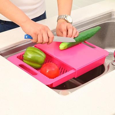 厨房可拆卸二合一切菜板带收纳槽塑料砧板加厚切水果板塑料带菜槽