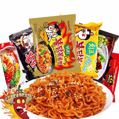 韩国进口 三养火鸡面6味6包组合装芝士味咖喱味 倍辣方便面组合