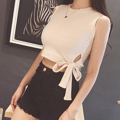 2017夏季新款露脐短款上衣女夏季短装绑带针织紧身漏肚脐背心性感