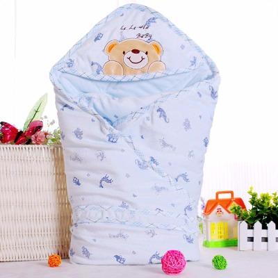 婴儿水晶绒抱被新生儿春秋冬款包被加厚抱毯宝宝冬季初生用品睡袋
