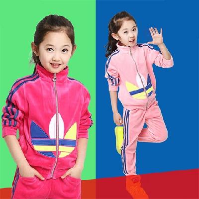 童装男女童长袖套装2018新款儿童春秋天鹅绒中大童运动外套两件套