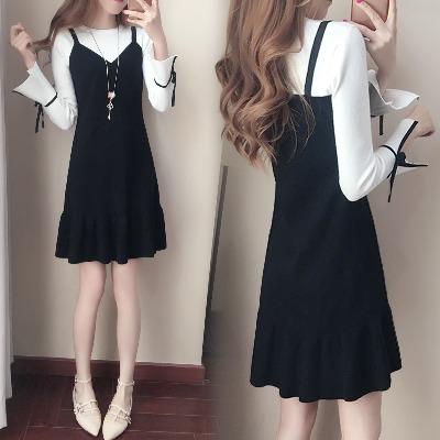 假两件套连衣裙韩版中长款长袖休闲百搭显瘦背带裙子女2017秋装新款女装潮