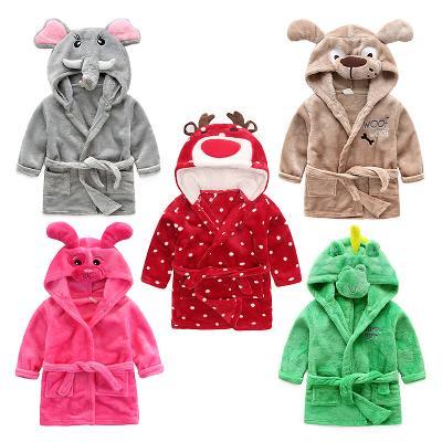 秋冬季儿童浴衣睡袍法兰绒可爱卡通带帽动物造型男女童珊瑚绒浴袍