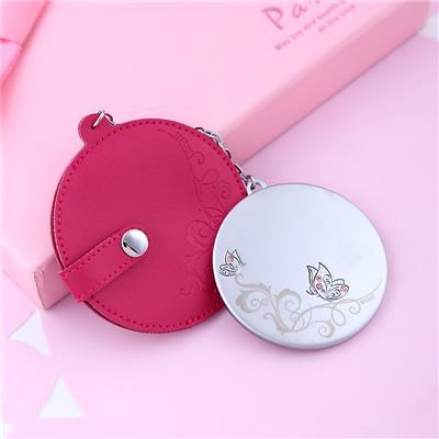 米勒斯随身化妆镜便携小镜子 新品圆形手拿镜美容带链条 可挂包包