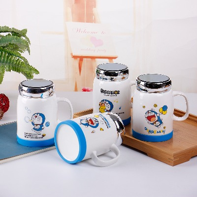 500ML创意陶瓷杯子马克杯带盖勺大容量牛奶杯咖啡办公室喝水杯子