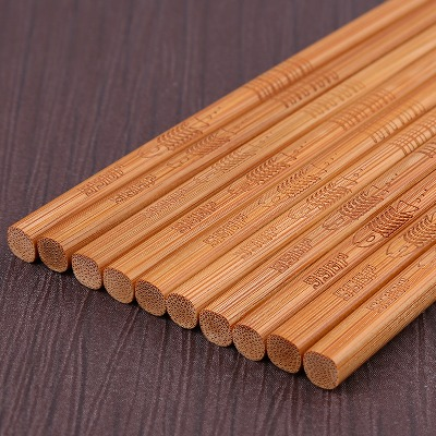 【新店冲量  买一送一】竹筷子家用天然无漆无蜡日式家庭装雕花筷子套装碳化竹不变形