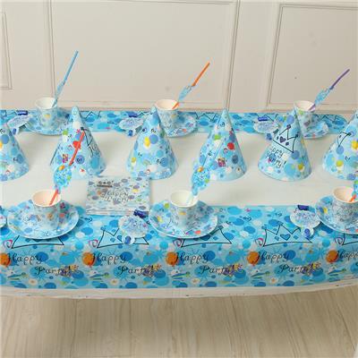 宝宝周岁生日布置装饰儿童生日主题套餐一次性餐具 6人套餐包邮