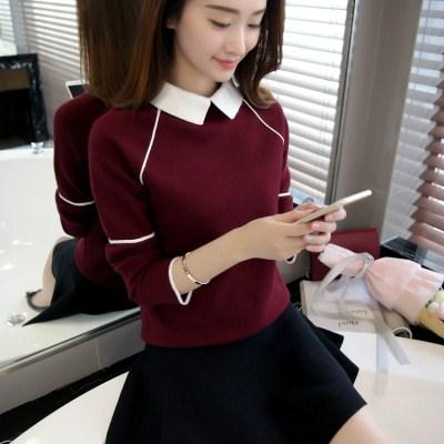 毛衣裙子春款毛衣毛衣女外套短款宽松男秋装学生女韩版红色低领毛