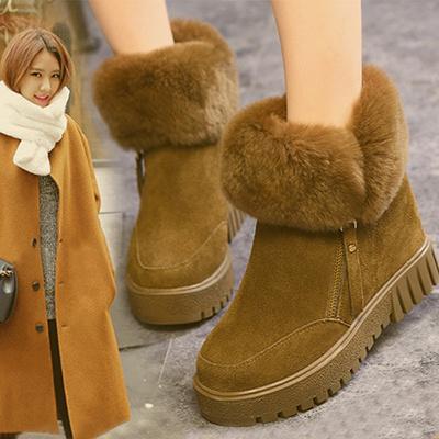 羊皮女鞋靴子女时尚靴子中跟短跟女鞋高靴大码女靴子棉鞋子女马靴女士中筒2018新款女学生靴鞋粗士冬鞋20短靴磨砂加绒棉女长