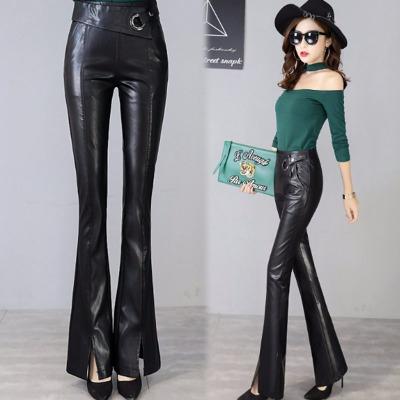 优质微弹显瘦皮裤女士外穿秋季新款黑色高腰开叉微喇叭裤pu长裤