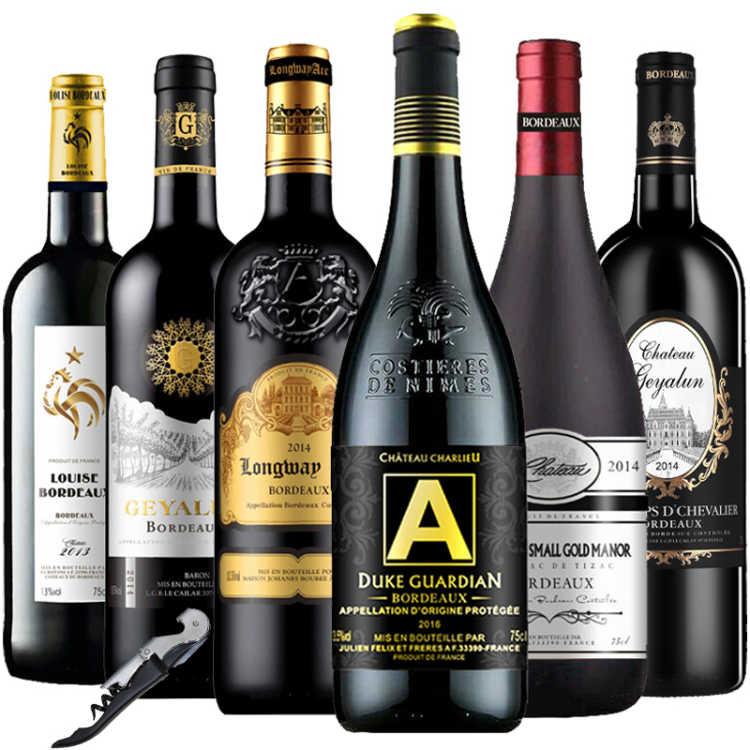 法国原瓶原装进口AOC(AOP)级红酒750ml组装混搭6瓶干红葡萄酒