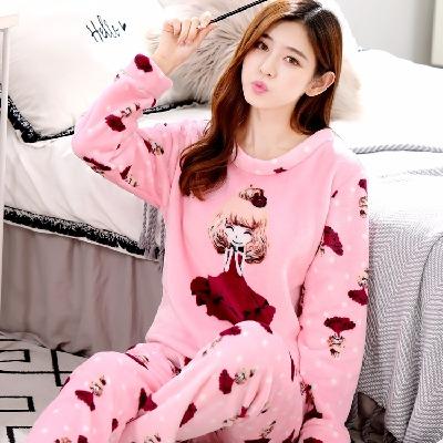 冬季法兰绒加厚甜美韩版宽松睡衣