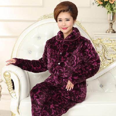 秋冬季睡衣加厚女士套装三层水貂绒夹棉袄保暖中老年人大码家居服