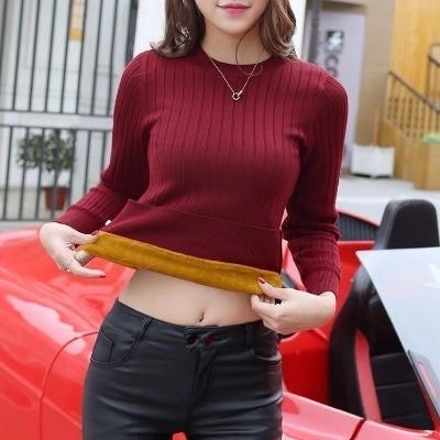 女士毛衣加绒加厚秋冬女2017新款套头韩版短款百搭长袖针织打底衫