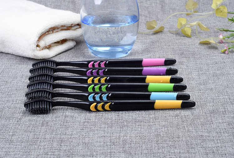 【10支新款竹炭】细毛成人 软毛牙刷 竹炭情侣款牙刷 家庭装