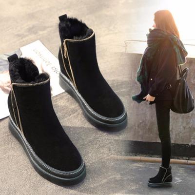 2018新款冬季雪地靴女保暖加绒厚底短靴子韩版学生内增高棉鞋女鞋
