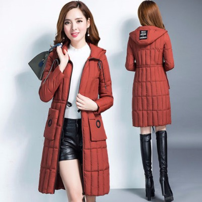 棉衣女中长款大码冬季新款韩版修身显瘦连帽羽绒棉服外套加厚棉袄