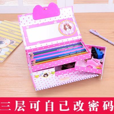 文具盒女韩版初中生高低床铁韩版笔盒子可爱胡萝卜笔袋女生笔袋彩