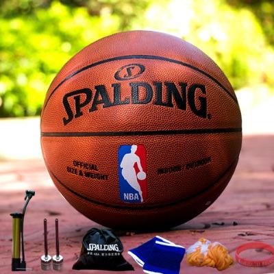 蓝球篮球架护具手环斯伯丁篮球斯正品气针包打气筒短裤真皮衣男乔