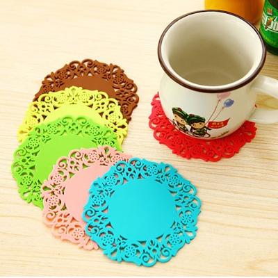 10只装居家简约时尚镂空杯垫圆形彩色茶杯胶垫颜色随机