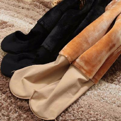 加绒加厚打底裤秋冬季女外穿连脚袜踩脚肉色光面不起球保暖一体裤