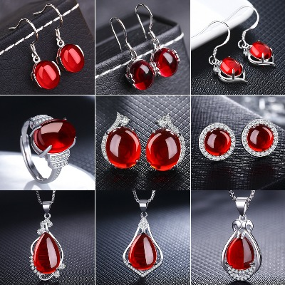 【买2送1】红刚玉项链女吊坠锁骨链耳环戒指配饰情人节母亲节礼物