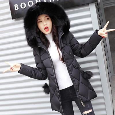 2018新款冬季外套女韩版纯色时尚百搭修身中长款棉衣女装加厚棉服