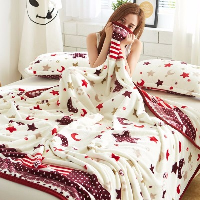 毛毯单人长款水貂绒毛毯儿童仿毯子小被套床垫绒床单加厚婴儿被双人电拉舍尔被被罩法毯休息鞋女高达四件套休息套装女反季节清仓珊