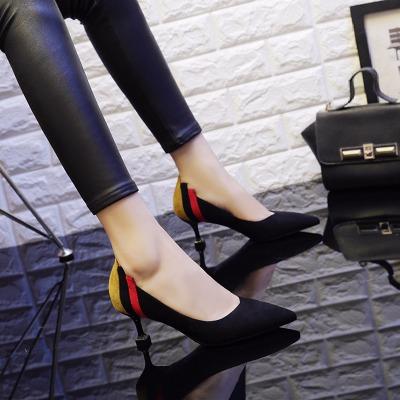 鞋女小皮鞋女春季高跟坡跟女鞋粗跟鞋冬豆豆春中跟细跟翻毛皮女鞋