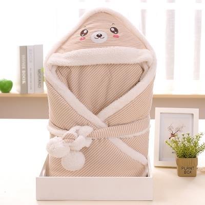 婴幼儿羊羔绒抱被 新生儿彩棉包被 秋冬纯棉宝宝小被子加厚童睡袋