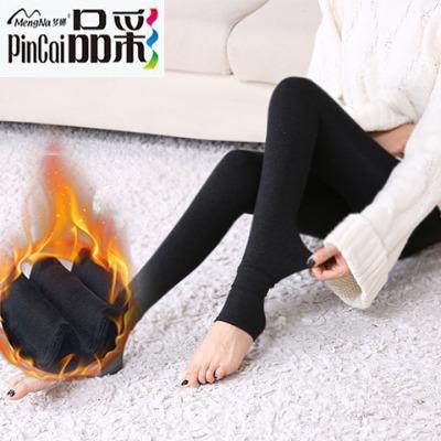【梦娜品彩】打底裤女秋冬款季加厚绒保暖超肥踩脚毛柔黑色一体裤