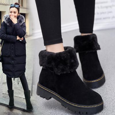女生靴子毛毛女鞋冬季冬天穿的棉鞋大码加绒靴子冬季女鞋厚底时尚女靴子时尚短靴女冬天穿的靴子女鞋棉鞋妈妈棉鞋女加绒保暖短靴女